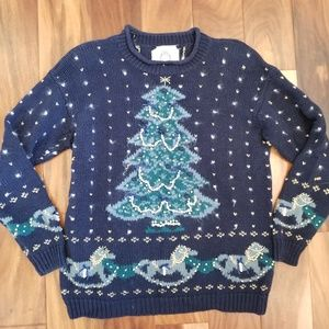 Vtg Hand Embroidered Embellished Christmas Sweater